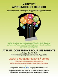 """Atelier-Conférence """" Comment APPRENDRE et REUSSIR """" @ Pôle musical et associatif Blaise Pascal"""